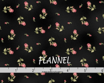 Black & Pink Rosebud Flannel, Floral Quilt Flannel, Maywood Welcome Home MASF 8363 J, Black Floral Cotton Flannel Yardage, Jennifer Bosworth