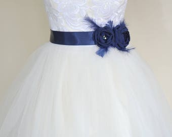 Bridal belt, Navy Bridal sash, Floral Bridal Belt, sash belt, Dark blue bridal belt, Flower wedding sash, Flower wedding dress belt