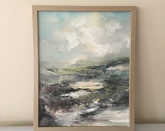 Gray Abstract Landscape - Neutral Gray and White- 20 x 16 Framed- Tonal Landscape- Beach- Rocky Shore- atmospheric - Framed