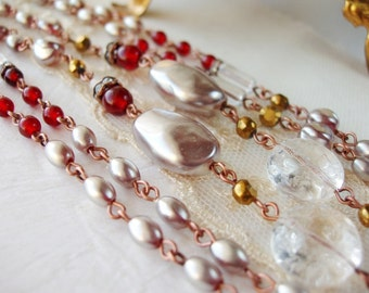 Long Pearl Necklace. Birthday Gifts. Red Beaded Sautoir. Layered Necklaces. Classic Jewelry. Baroque Pearl. Gift Ideas