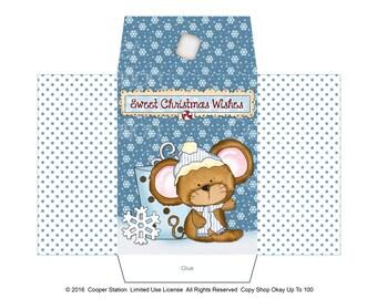 Digital Printable Winter Mouse Cocoa Envelope or Potpourri or Sachet Envelope