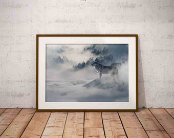 wolf wall art , wolf poster , printable art , foggy forest , forest wall art , wolf art digital