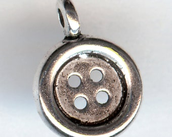 BUTTON Charm. Silver Plated. 3D.