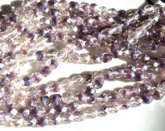 Luster Purple Mix 6mm Faceted Fire Polish Round Beads  25
