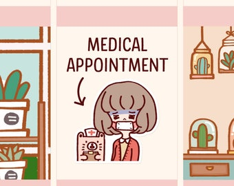 Cute Doctor appointment Stickers, Medical Appointment Planner stickers, Cute Nurse Stickers, Girl stickers,Kawaii Girl (LOLA028)