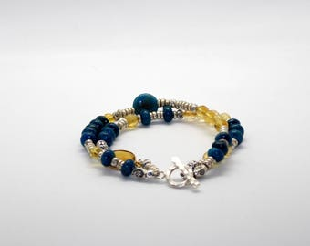Apatite, Citrine, Thai beads and Calcedony Bracelet with Sterling Silver Toggle