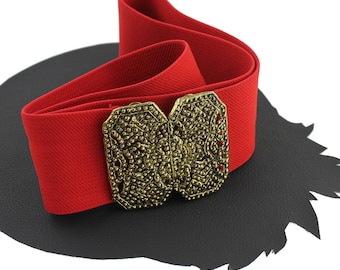 Red Elastic Vintage Belt with Brass Buckle