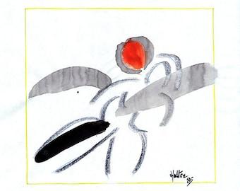 Nu femme 2. Aquarelle, encre de chine et crayon gras noir sur feuille de bloc à dessin esquisse