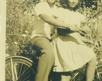 1930s Brother Sister on Bicycle Bike Ride 30s Antique Vintage Photograph Black White Photo