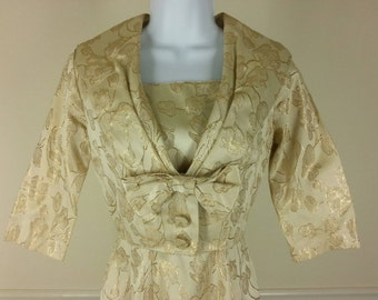 Vtg 50s metallic gold dress with cropped jacket size xs extra small chest 32