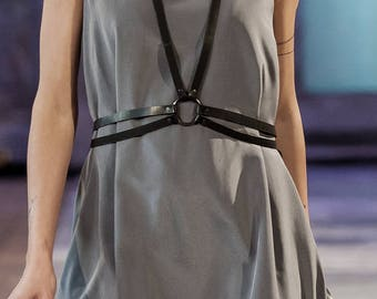 Simple leather body harness with ring detail