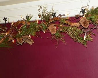 Christmas Garland, 50 Silicone Bulbs on Wired Pine Garland, Grapevine, 8 1/2 Ft of Lighted Indoor/Outdoor Electric Lights