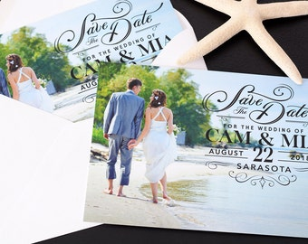 """Classy Overlay - Save The Date Cards - 5"""" x 7"""" Wedding Announcement Cards - Save The Dates - Personalized Save the Dates - Photo Cards"""