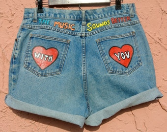 OLD CROW 'The Music Sounds Better With You' High Waisted Denim Shorts 32""