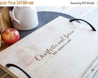SUMMER SALE - 10% OFF Serving Tray - Wood - Personalized and Engraved - Christmas gift - holiday gift - wedding gift - housewarming gift
