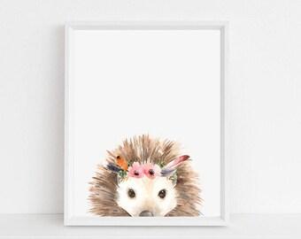 Hedgehog Print // Hedgehog Printable, Hedgehog Decor, Hedgehog Art, Hedgehog Decoration, Hedgehog Floral, Hedgehog Wall Art, Wildlife
