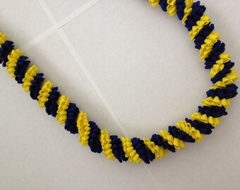 Blue and Yellow Rick Rack Lei with gold bow