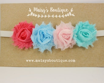 Mini Pinks and Sky Blue and Seafoam Green Flower Headband/ Baby Headband/ Flower Girl Headband/ Ready to Ship