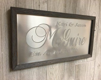 10th anniversary gift, tin anniversary gift, Personalized Wedding Sign, Wedding Gift for couples, last name sign, established date sign