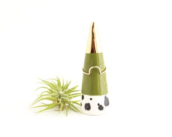Ceramic Ring Cone, Gold Ring Holder, Ring Display Cone, Nightstand Decor, Jewelry Organizer, Gifts for Women under 40, Jewelry Storage