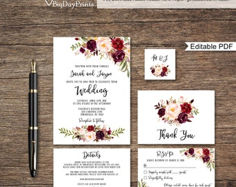 Floral Wedding Invitation Template, Boho Chic Wedding Invitation Suite, Wedding Set, #A024A, Editable PDF - you personalize at home.