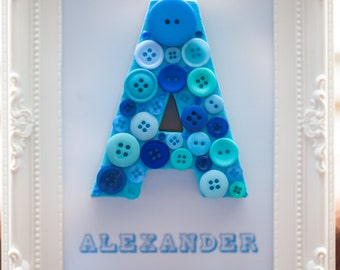 Blue Button Letter Art, Button letter, New baby gift, Christening gift, Personalised gift, Button initial, Monogram, Baby boy gift