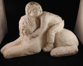 Austin Production Sculpture Bright Eyes Collection Puppy Love II Boy with Dog 1984