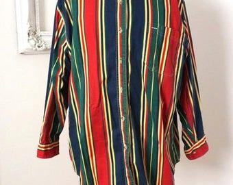 Vintage Bill Blass Striped Cotton Chambray Shirt Men XL