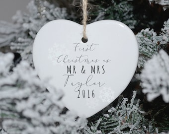First Christmas as Mr and Mrs Heart Christmas Ornament, First Christmas Decoration, Wedding Gift, First Christmas Bauble, comes Gift Boxed