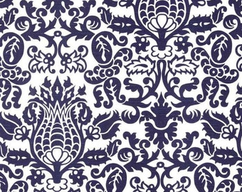 Navy Blue White Indoor Decorative Throw Pillow Cover with Hidden Zipper