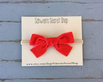 velvet baby bow, baby girl bow, hand tied bow, baby girl headband, nylon headband, baby bow headband, baby hair bow, school girl bow
