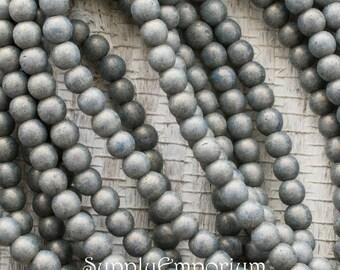 Pacifica Poppy Seed 4mm Czech Glass Druk Beads, 3216, Pacifica Taupe 4mm Round Beads, 4mm Pacifica Grey Gray Druk Beads, 100 Beads