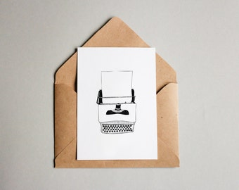 Typewriter print A6 wall art, black and white, linework, interior wall art, nature print