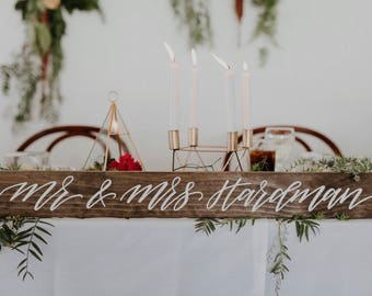 Mr and Mrs ...Table Sign (80x9cm) | Mr and Mrs Sign | Mr and Mr Sign | Mrs and Mrs Sign | Couple Sign | Willow and Ink