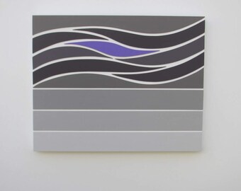 Waves of Grey 2 - original contemporary mixed media painting of wood on wood with acrylic