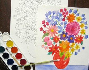 Watercolor Painting Kit - Flowers