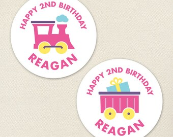 Pink Train Party - Custom Pink Train Birthday Stickers - Sheet of 12 or 24
