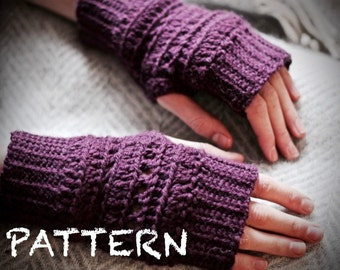 PATTERN Ribbed Crochet Fingerless Gloves | One-Size-Fits-Most Wristwarmers | Fingerless Mitts Pattern