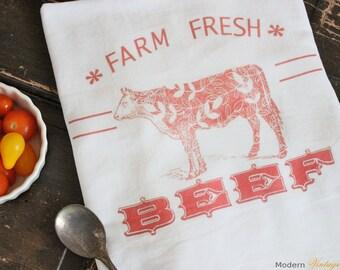 1 Farm Fresh Kitchen Towel -Flour Sack Towels -Tea Towels -  Dish Towels - by Modern Vintage Market