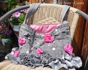 Jeanstasche mit Rüschen und Blumen, Kawaii, Cute, Romantisch