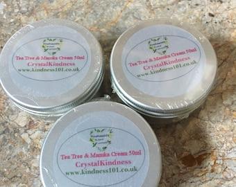 Tea Tree & Manuka Cream 50ml, Natural Soothing Anti Fungal, Antiseptic Cream, Essential Oils, Perfect Foot Cream