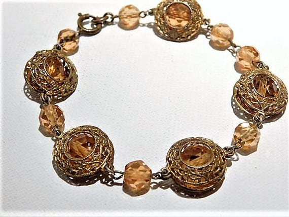 Art Deco Czech Bracelet / Amber Glass