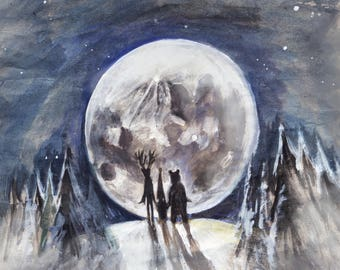 Coded Storm - Greeting Card - Father Christmas, Renny and the Arctic Bear View the Supermoon