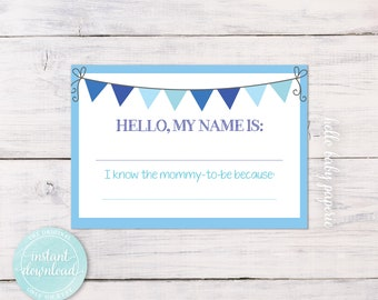Name Tags, Baby Shower Name Tags, Avery Name Tags, Boy Baby Shower, Blue Baby  Shower, Baby Shower Ideas, BBF