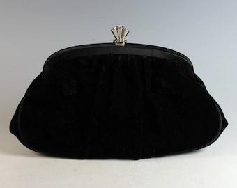 Vintage La Regale Black Velvet Clutch Evening Purse