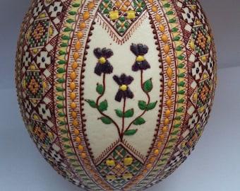 1 Romanian Romania pisanki pysanky pysanka decorated waxed real OSTRICH egg