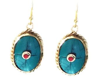 Turquoise Earrings, Nepal Jewelry,Vintage Gold,Antique Earrings,Tibetan jewelry,Afghan Jewelry by Taneesi