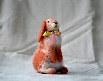 Easter bunny....Felt toy Handmade Doll Soft Sculpture OOAK Needle Felted Wool Animals New... I will make this item for your order