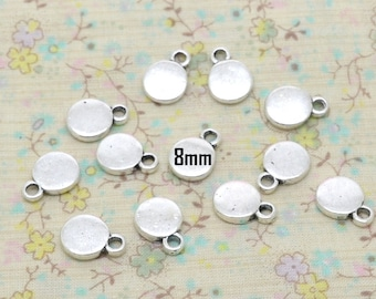 10 charms Medal, circular Round 8mm silver-plated