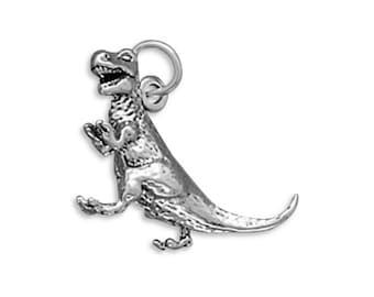 Sterling Silver Tyrannosaurus Rex Dinosaur Charm Pendant 3D  T. Rex